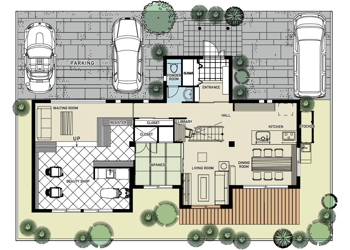 仕事の(美容院)と生活の場を近く離す-1階プラン