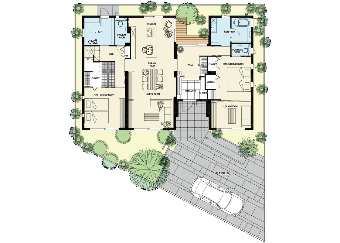 大人の家-1階プラン