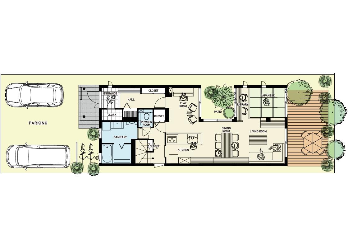 狭小間口の家-1階プラン