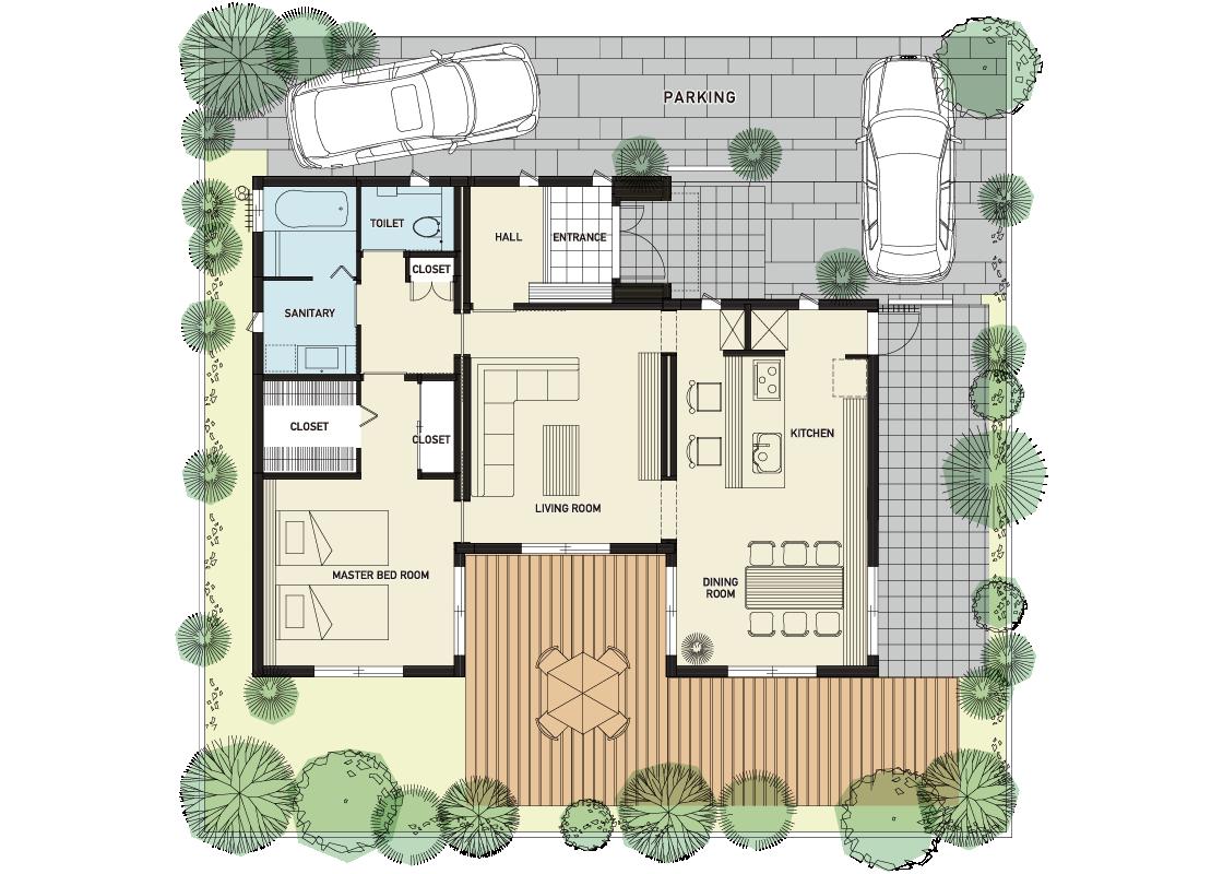 自然とともに四季を楽しむ家-1階プラン