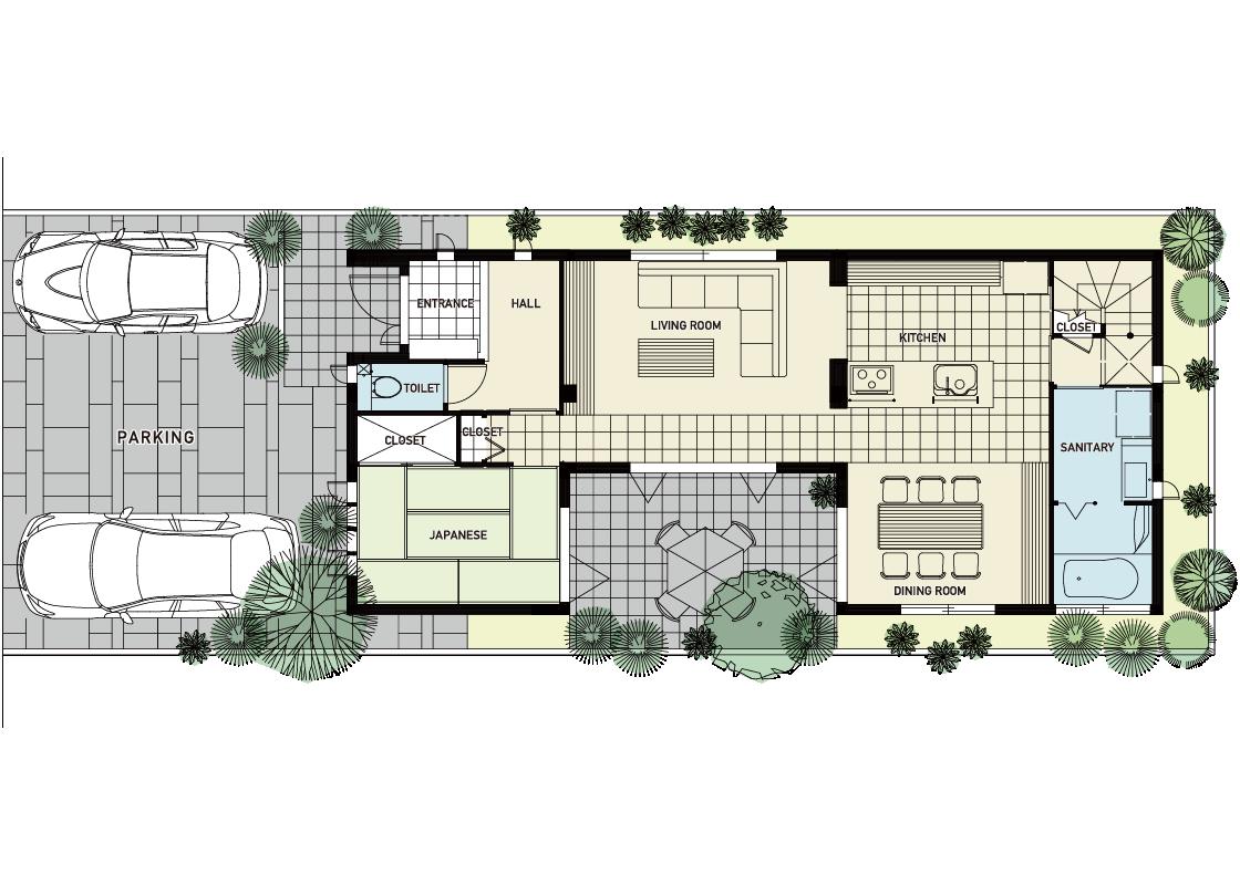 狭小地に光を取り込むコートハウス-1階プラン