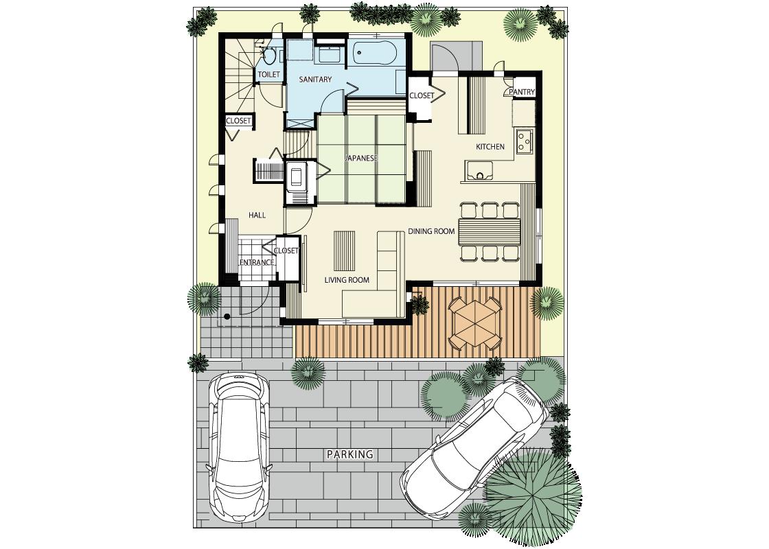 様々なシーンに対応できる家-1階プラン
