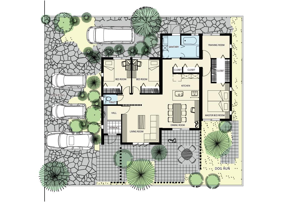 外を取り込む平屋の家-1階プラン