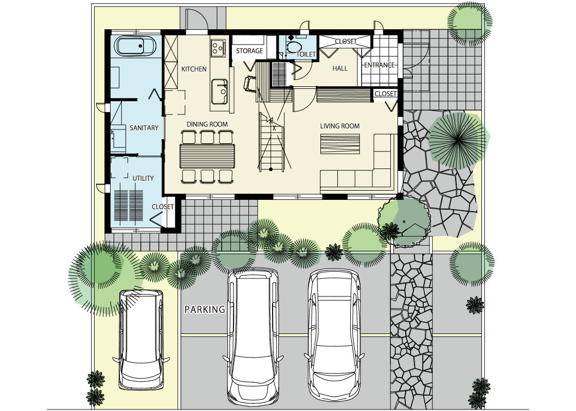 家族の空間がゆるやかにつながる-1階プラン