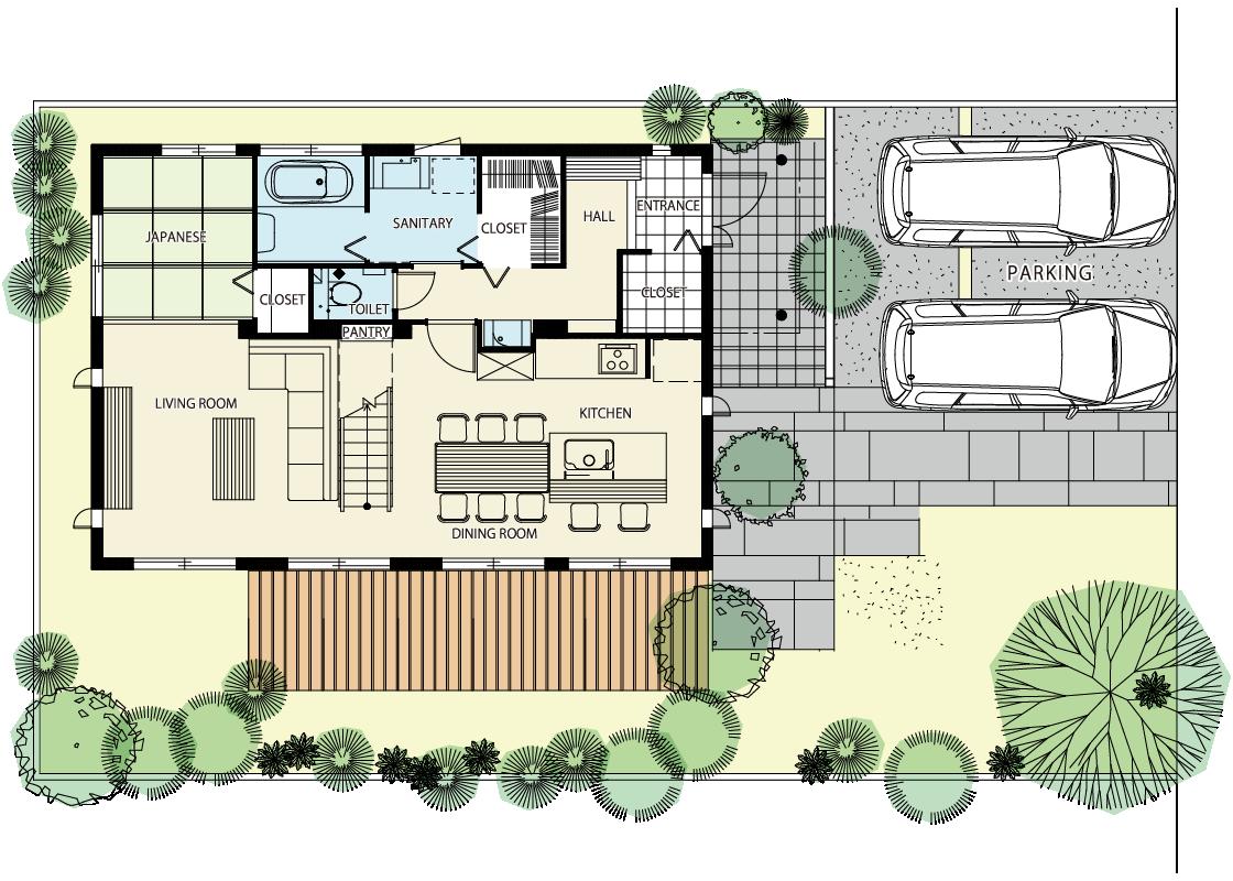 大きな吹き抜けで広く開放的なリビングのある家-1階プラン