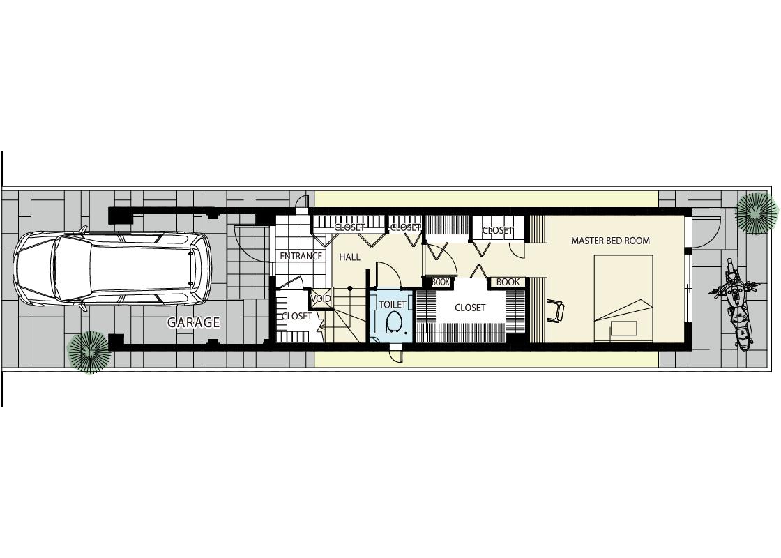 狭小地を生かした明るい3階建て-1階プラン