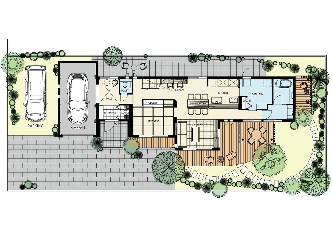 ガレージと庭と書斎 趣味の空間がつまった家-1階プラン
