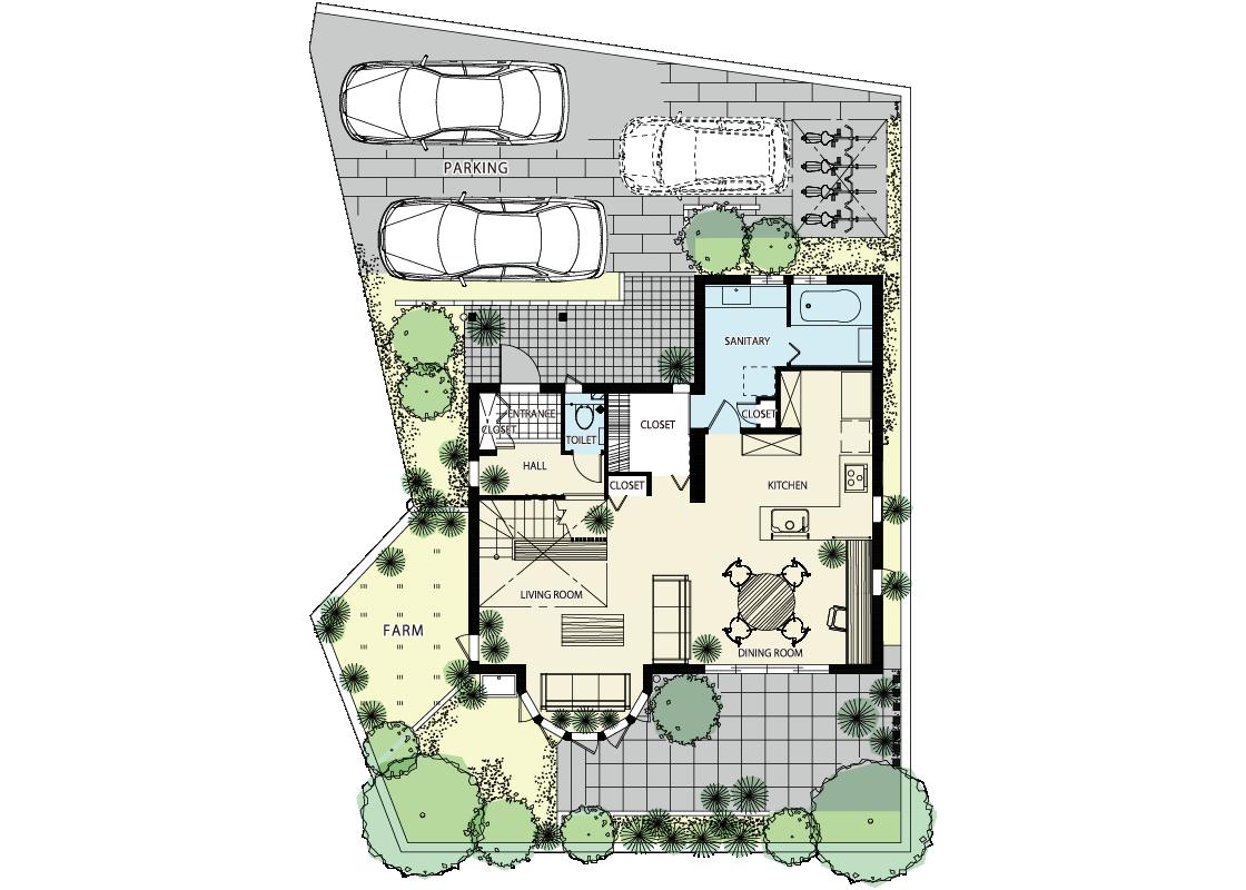 植物が好き!緑と共に暮らす家-1階プラン