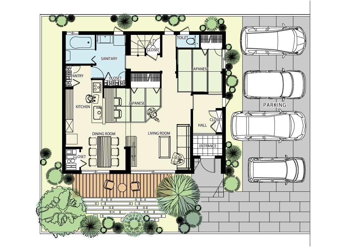 2つのタタミ座・回遊できる家-1階プラン