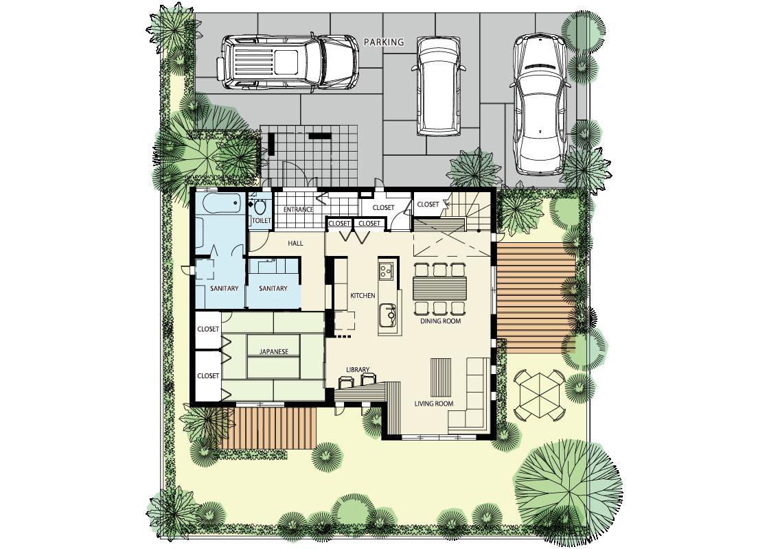 キッチン中心の家-1階プラン