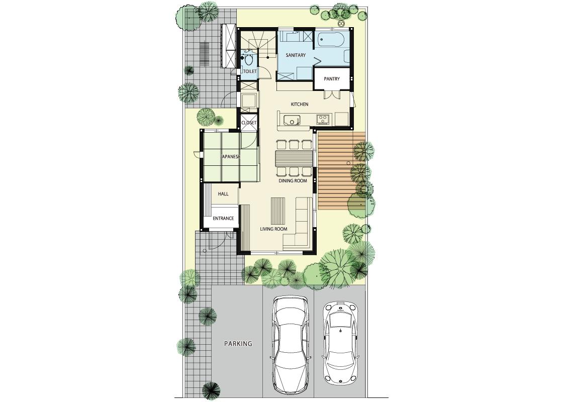 内と外の空間が一体となる家-1階プラン