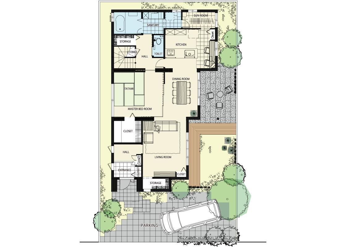 深い軒に囲まれた中庭のある家-1階プラン
